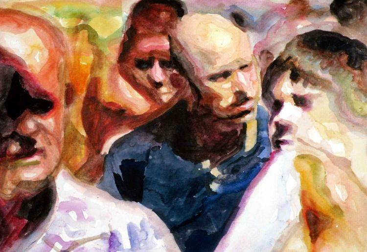 Gesicht, Ausdruck, Blick, Menge, Aquarellmalerei, Menschen
