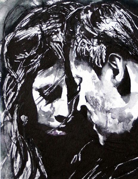 Menschen, Paar, Emotion, Monochrom, Aquarellmalerei, Aquarell