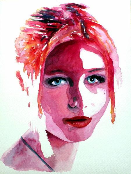Blick, Aquarellmalerei, Portrait, Farben, Frau, Pink