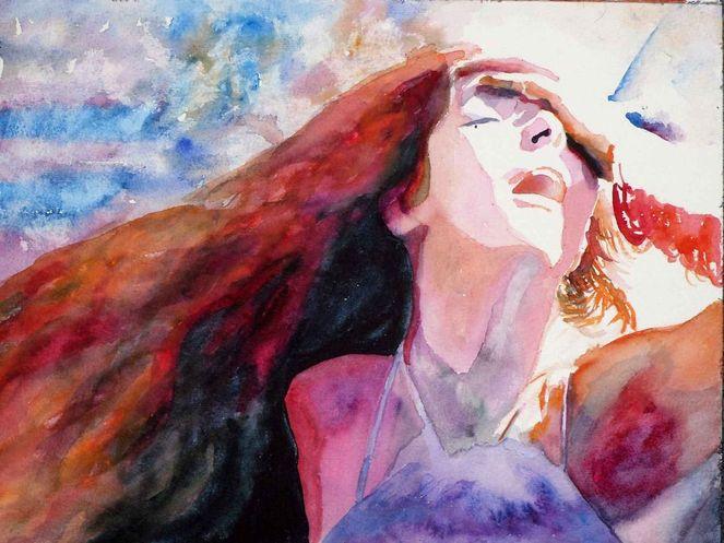 Blick, Haare, Aquarellmalerei, Ausdruck, Portrait, Licht