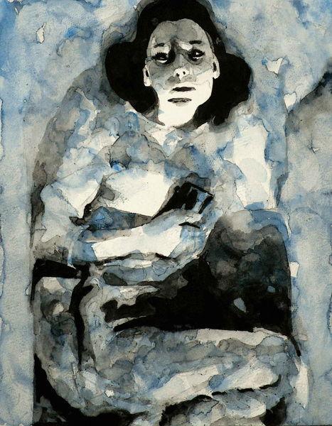 Blau, Blick, Grau, Aquarellmalerei, Frau, Aquarell