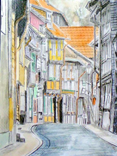 Fachwerk, Grafit, Aquarellfarben, Altstadt, Harz, Zeichnung