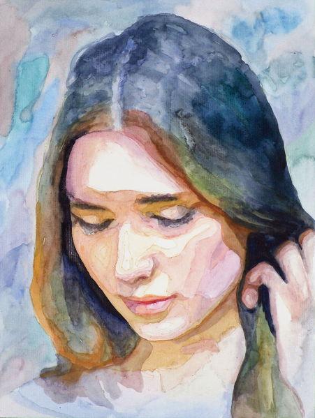 Aquarellmalerei, Ausdruck, Portrait, Haare, Frau, Blick