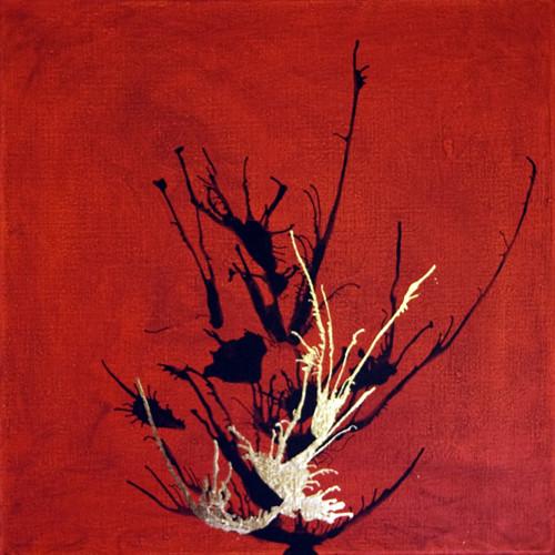 Rot schwarz, Gold, Acrylmalerei, Blattmetall, Malerei, Abstrakt