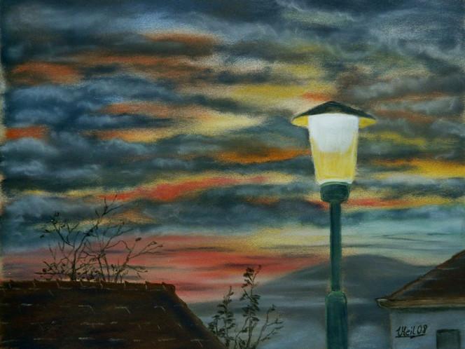 Landschaft, Laterne, Wolken, Malerei, Himmel, Dämmerung