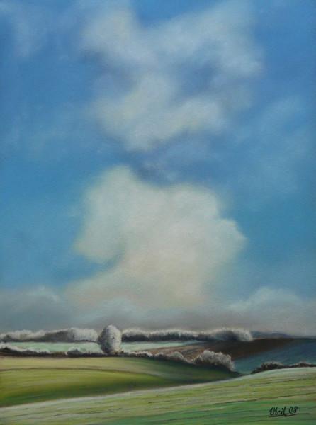 Pastellmalerei, Landschaft, Wolken, Rauhreif, Winter, Malerei