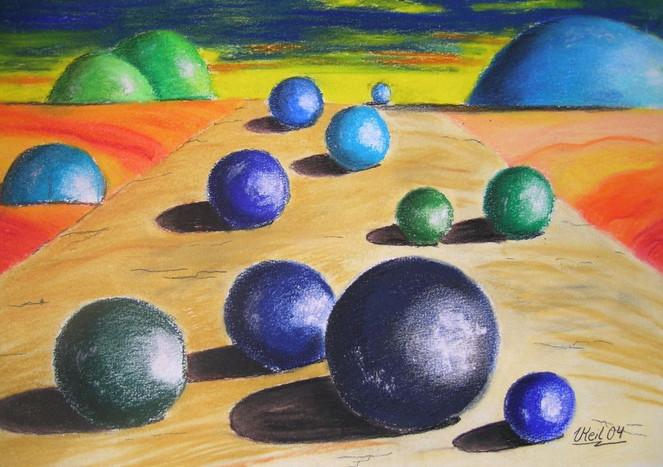 Surreal, Landschaft, Pastellmalerei, Kugel, Malerei