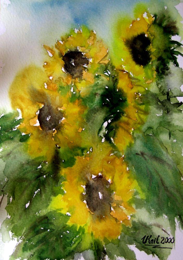 bild sonnenblumen blumen herbst aquarellmalerei von. Black Bedroom Furniture Sets. Home Design Ideas