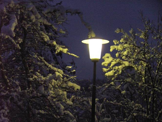 Fotografie, Nacht, Schnee, Laterne, Landschaft