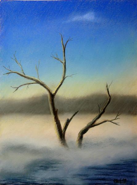 Pastellmalerei, Landschaft, Malerei, Baum, Morgen, Nebel