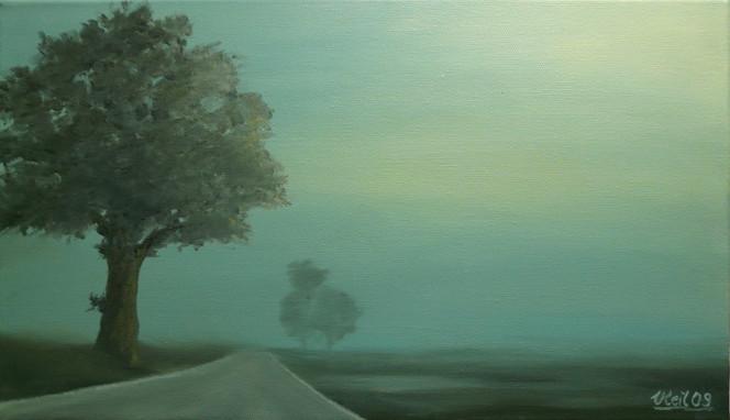 Malerei, Landschaft, Baum, Nebel, Ölmalerei, Straße