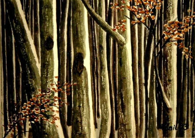 Baum, Landschaft, Wald, Winter, Malerei, Winterwald