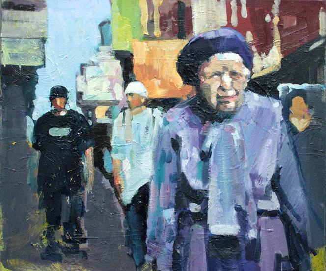 Menschen, Stadt, Malerei, Figural