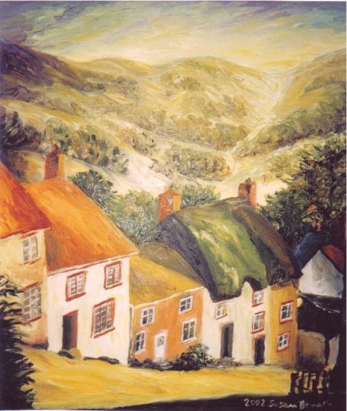 Sonne, Licht, Landschaft, Ölmalerei, Häuser, Schottland