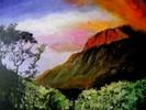 Vulkan, Himmel, Landschaft, Ölmalerei