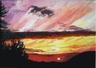 Sonnenuntergang, Ölmalerei, Sonne, Landschaft