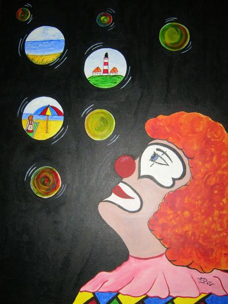 Naive malerei, Clown, Malerei, Träumerei