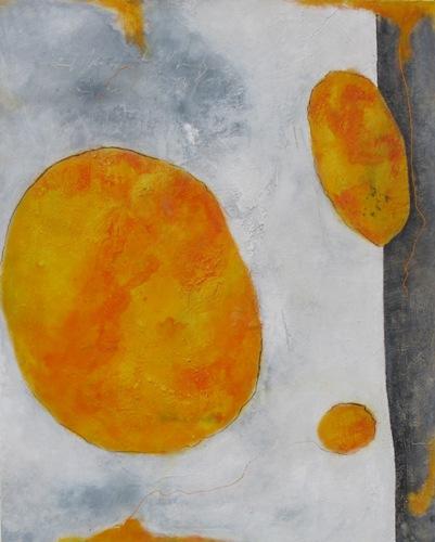 Strukturieren, Grau, Weiß, Mischtechnik, Acrylmalerei, Orange