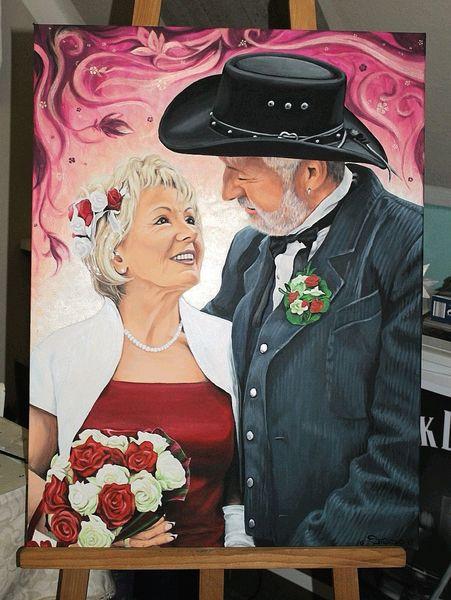 Acrylmalerei, Menschen, Portrait, Paar, Malerei