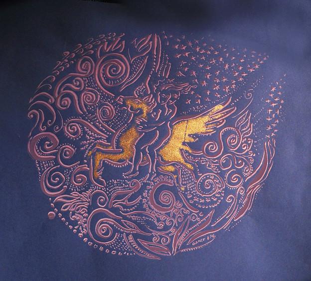 Einheit, Karte, Reiter, Pegasus, Kunstdruck, Androgyn