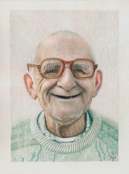 Lächeln, Portrait, Mann, Alt, Zeichnungen, Schönheit