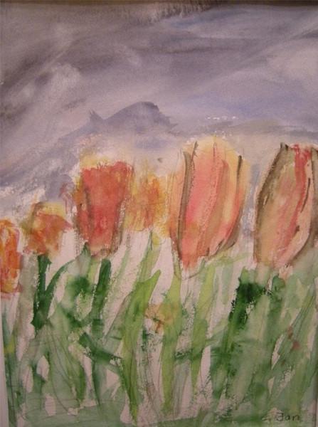 Feld, Acrylmalerei, Frühling, Tuplen, Blumen, Aquarellmalerei