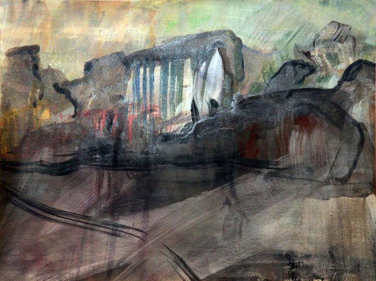 Eisschmelze, Stein, Malerei abstrakt, Naturgewalt, Mischtechnik, Berge