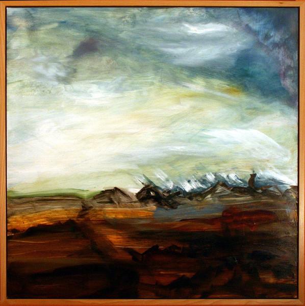 Malerei, Abstrakt, Landschaft, Meer, Wolken