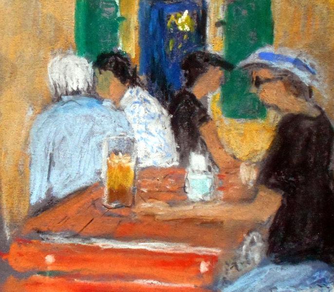 Garten, Sommer, Cafe, Menschen, Malerei