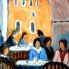 Pastellmalerei, Tonpapier, Café, Menschen