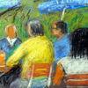 Biergarten, Sommer, Menschen, Malerei