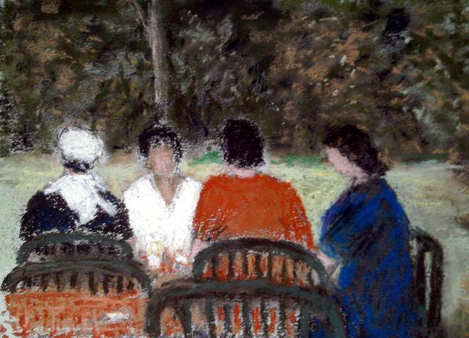 Sommer, Cafe, Garten, Menschen, Malerei