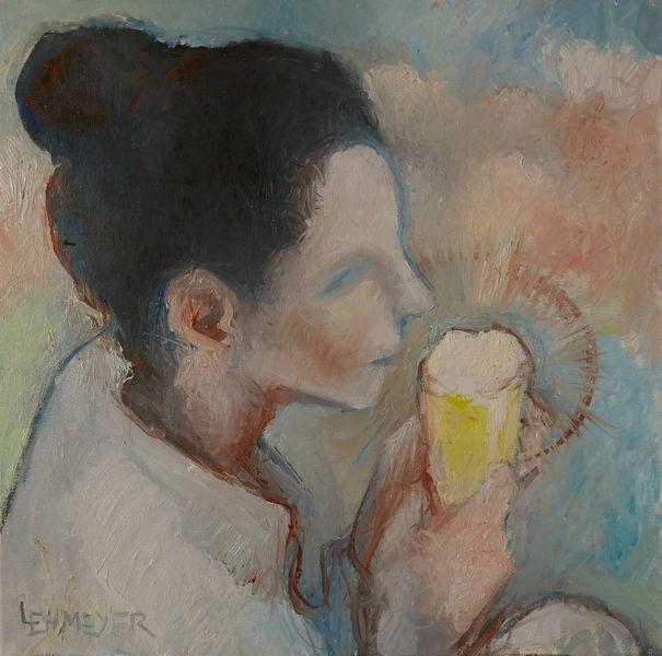 Sunny afternoon, Bier, Frau, Malerei