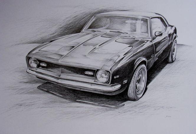 Auto, Bleistiftzeichnung, Camaro, Chevy, Chevrolet, Oldtimer