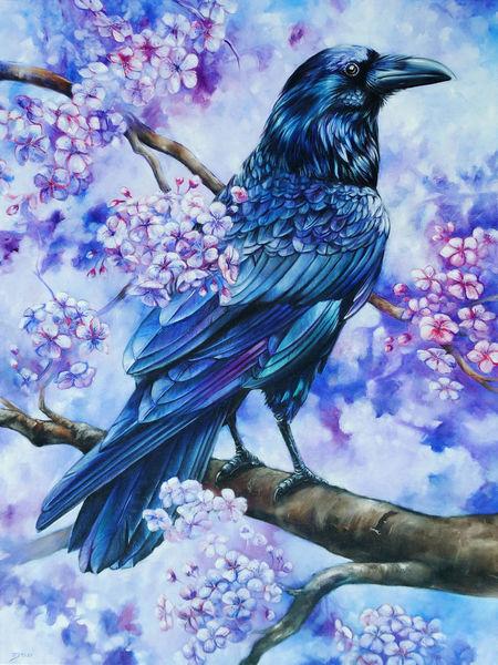 Krähe, Baum, Ölmalerei, Rabe, Cherryblossom, Blüte