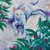 Blumen, Weiß, Katze, Malerei