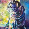 Katze, Bunt, Tierportrait, Katzenzeichnung