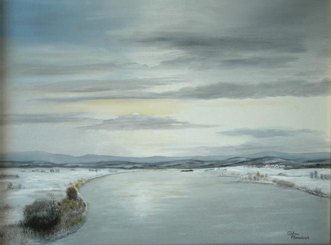 Realismus, Malerei, Schnee, Fluss, Landschaft, Wasser