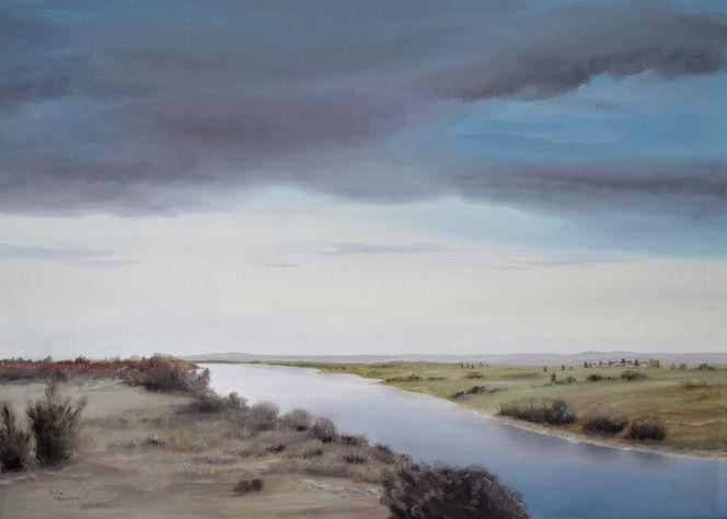 Himmel, Natur, Malerei, Realismus, Ölmalerei, Flusslandschaft