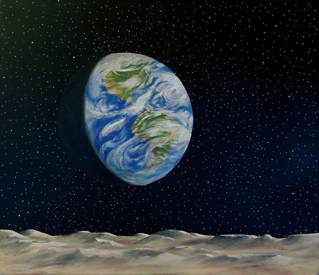 Die Erde Erde Nacht Malerei Landschaft Von Rainer Pfannkuch Bei
