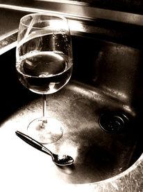 Glas, Löffel, Spüle, Edelstahl