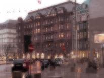 Regen, Architektur, Hamburg, Jungfernstieg