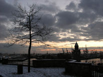 Hamburg, Sonnenuntergang, Landungsbrücken, Landschaft