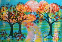 Buntes laub, Blüte, Wolken, Blau