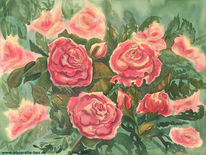 Blumen, Stimmung, Rose, Aquarellmalerei
