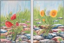 Stein, Aquarellmalerei, Mohn, Malerei