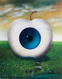 Augen, Apfel, Gemälde, Malerei