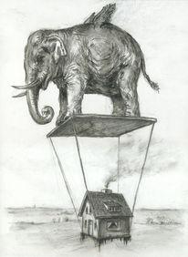 Figur, Fliegen, Elefant, Tiere