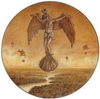 Zeichnung, Fliegen, Allegorie, Skurril