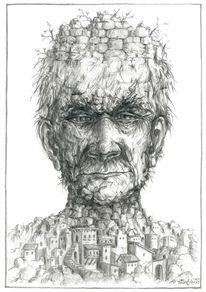 Alt, Portrait, Zeichnung, Kopf